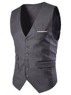Slim Fit Single Breasted Solid Color Men's Waistcoat - Deep Gray L