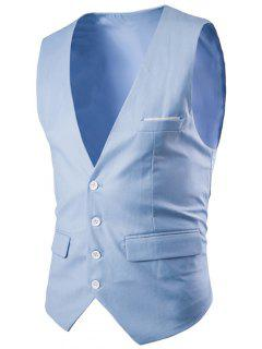 Slimming Single Breasted Solid Color Men's Waistcoat - Lake Blue L