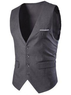 Slimming Single Breasted Solid Color Men's Waistcoat - Deep Gray Xl