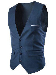 Slimming Single Breasted Solid Color Men's Waistcoat - Navy Blue 2xl