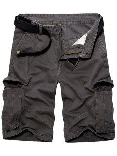 Casual Holgado Multi-bolsillos Sólidos Pantalones Cortos De Color De Carga Para Los Hombres - Gris Oscuro 36