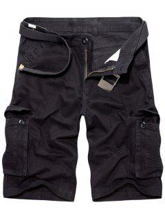 Casual Loose Fit Multi-Pockets Solid Color Cargo Shorts For Men - Black 31