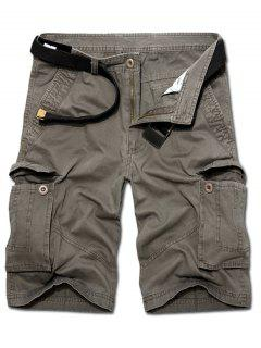 Casual Loose Fit Multi-Pockets Solid Color Cargo Shorts For Men - Green 36