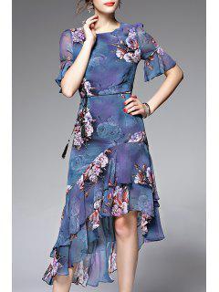 Asymmetric Flounce Floral Tea Length Dress - Blue S