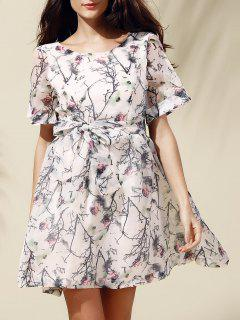 Sweet Short Sleeve Scoop Neck Floral Print Self-Tie Women's Dress - Off-white Xl