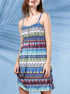 Printed Flared Cami Tribal Dress - Blue Xl