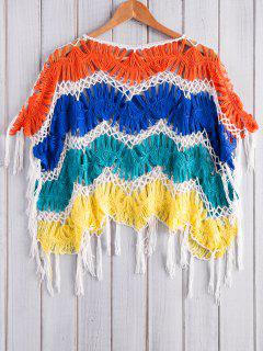 Color Block Frangée Crochet Cover-Up