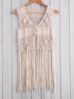 Fringed Open Front Crochet Top - Apricot