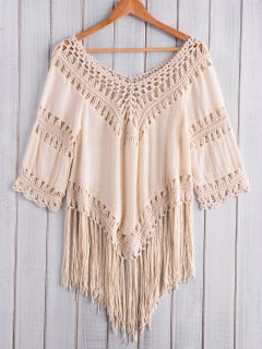 Fringed Crochet V-Shaped Blouse - Apricot
