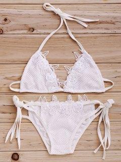 Mesh Halter Lacing Spliced Bikini Set - White Xl