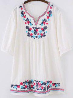 Ethnic Embroidered Sweetheart Neck 3/4 Sleeve Blouse - White