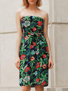 Bohemian Style Floral Print Strapless Dress For Women - Green S