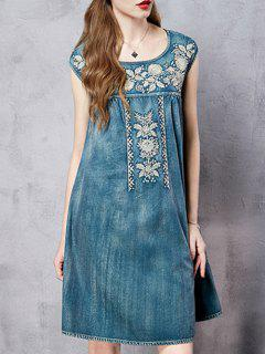Retro Embroidery Round Neck Sleeveless Dress - Blue M