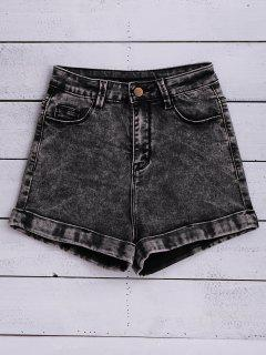 Snow Wash Denim Shorts - Black 24