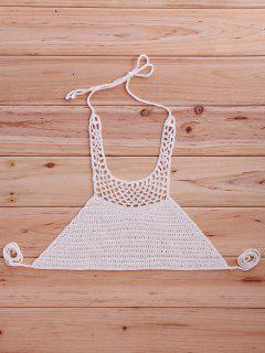Halter Neck Crochet Bikini Top - White