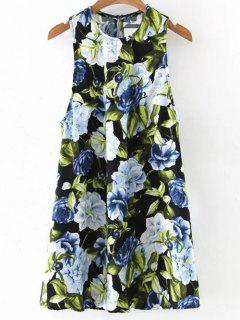 Floral Round Neck Mini Dress - Black S