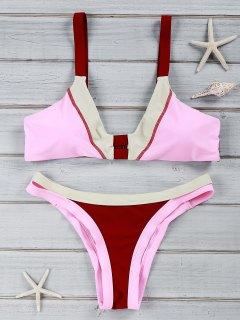 Chic Color Block U Neck Bikini Suit Swimwear - Wine Red L