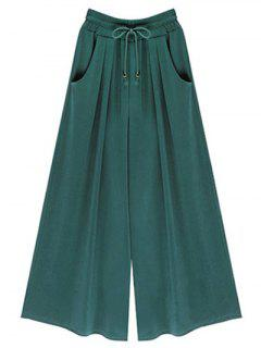 Wide Leg Elastic Waist Drawstring Pants - Green S