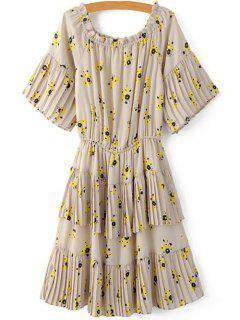 Elastic Waist Tiny Floral A-Line Dress - Apricot S