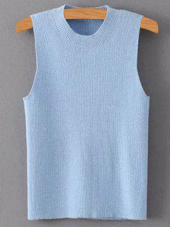 Solid Color Mock Neck Knitted Top - Azure