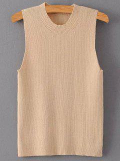Solid Color Mock Neck Knitted Top - Pale Pinkish Grey