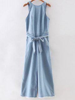 Blue Denim Round Neck Sleeveless Backless Jumpsuit - Blue S