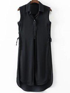 High Slit Turn Down Collar Sleeveless Shirt - Black S