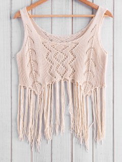 Fringed Knit Tank Top - Apricot