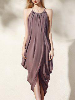 Asymmetric Round Neck Loose Fitting Dress - Khaki Xl