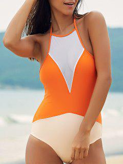 See-Through High Neck One Piece Swimwear - Orange M