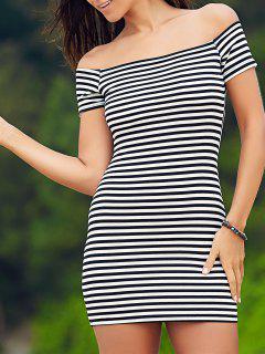 Kalte Schulter-gewelltes Kleid - Weiß & Schwarz Xl