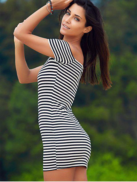 Cold Shoulder Ribbed Dress - Blanc et Noir L Mobile