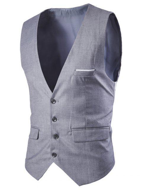 Gilet Mince Simple à Boutonnage Couleurs Solides pour Hommes - Gris Clair XL Mobile