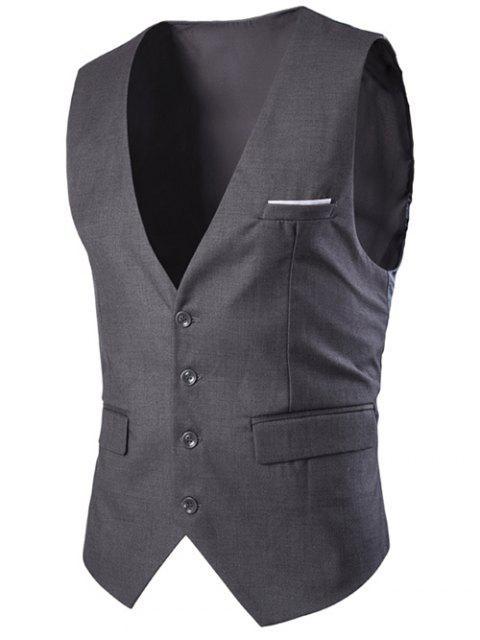 Gilet Mince Simple à Boutonnage Couleurs Solides pour Hommes - gris foncé XL Mobile