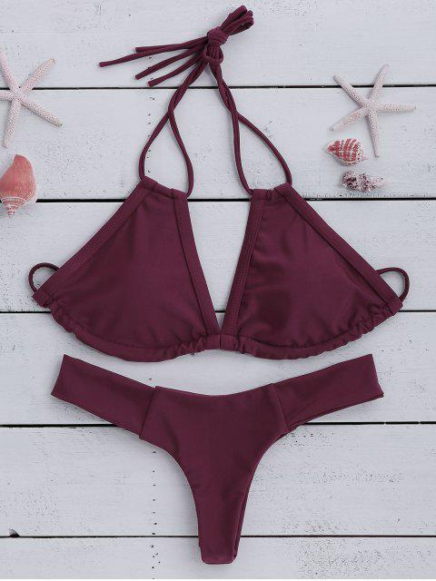 outfit Wine Red Halter Bikini Set - WINE RED M Mobile