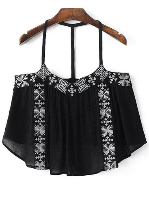trendy Embroidery Cami Tank Top - BLACK L Mobile