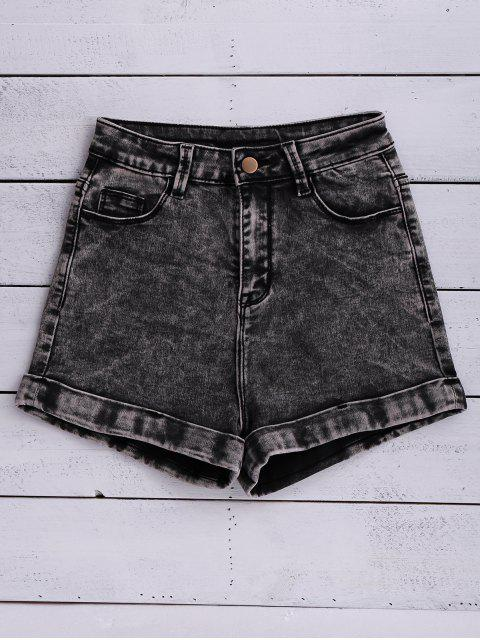 women's Snow Wash Denim Shorts - BLACK 24 Mobile