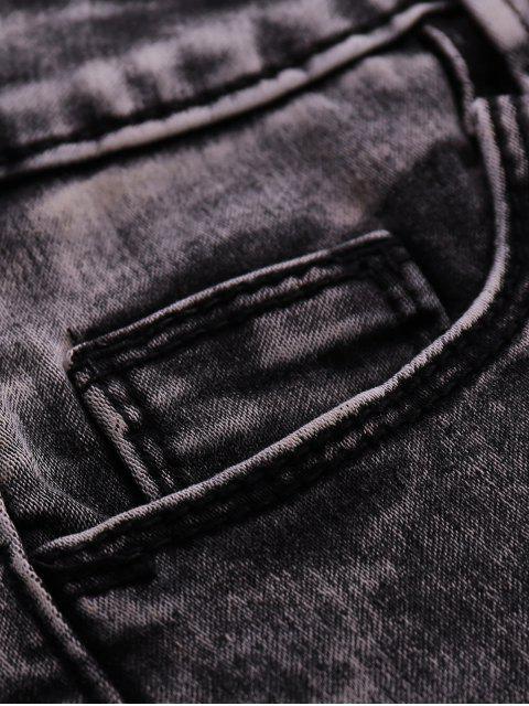 womens Snow Wash Denim Shorts - BLACK 26 Mobile