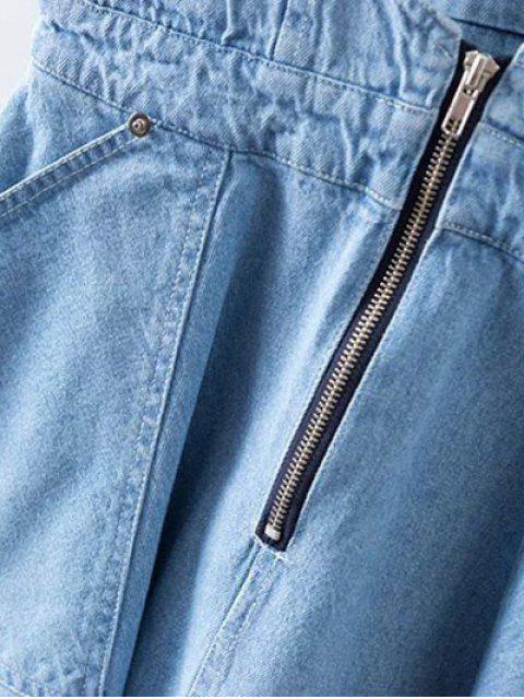 ladies Denim Zipper Rough Selvedge Suspender Skirt - ICE BLUE M Mobile