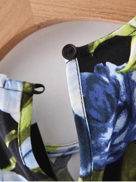 fancy Floral Round Neck Mini Dress - BLACK L Mobile