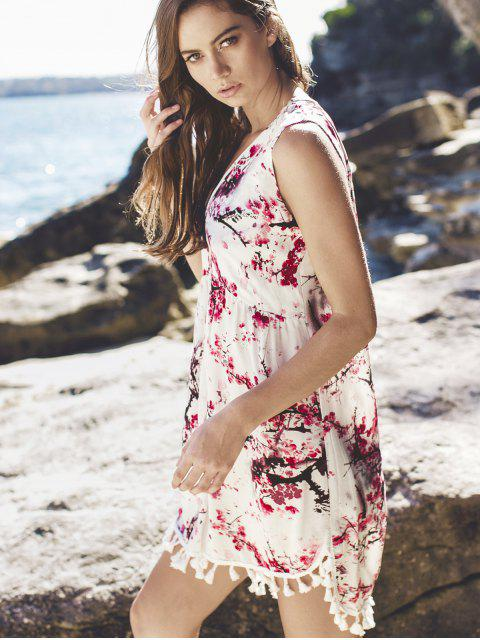 fancy Laciness Low Cut High Low Dress - WHITE M Mobile