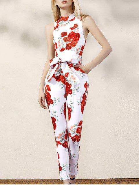 fashion Floral Turtle Neck Sleeveless Jumpsuit - RED WITH WHITE M Mobile