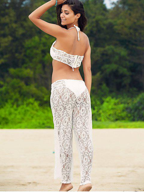 White Lace Crop Top et Pantalon large Suit - Blanc L Mobile