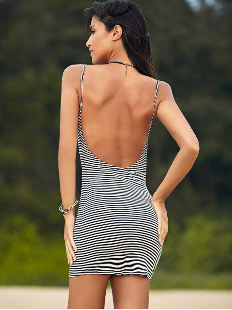outfit Striped Low Back Mini Bodycon Dress - WHITE AND BLACK S Mobile