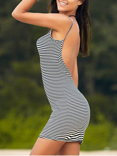 outfits Striped Low Back Mini Bodycon Dress - WHITE AND BLACK M Mobile