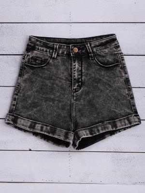 Snow Wash Denim Shorts - Black 25