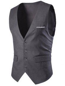 Slimming Único Breasted Solid Color Men  's Colete - Cinza Escuro Xl