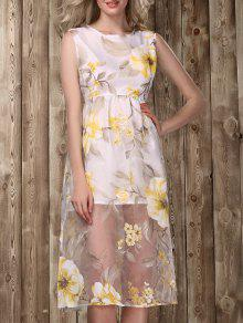 Midi Floral Print Dress - Golden L