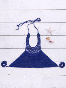 Halter Neck Crochet Bikini Top - Blue