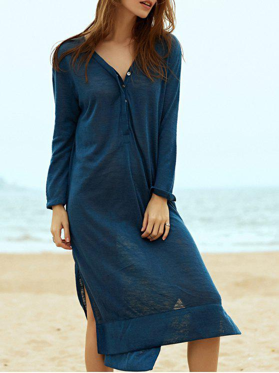 women Side Slit Straight Dress - BLUE L